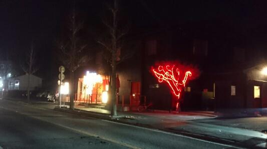 京都ダイコクバーガー:亀岡市のハンバーガー店にイルミネーション