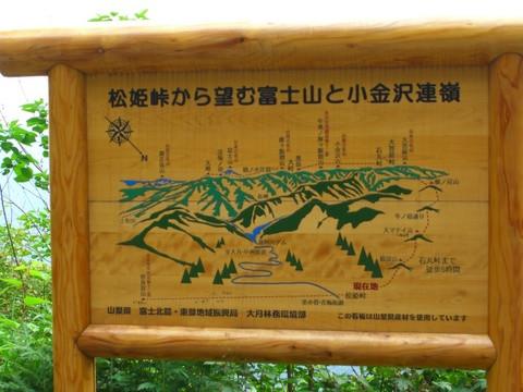 「松姫峠から望む富士山と小金沢連嶺」の立て看板そして小菅村へ